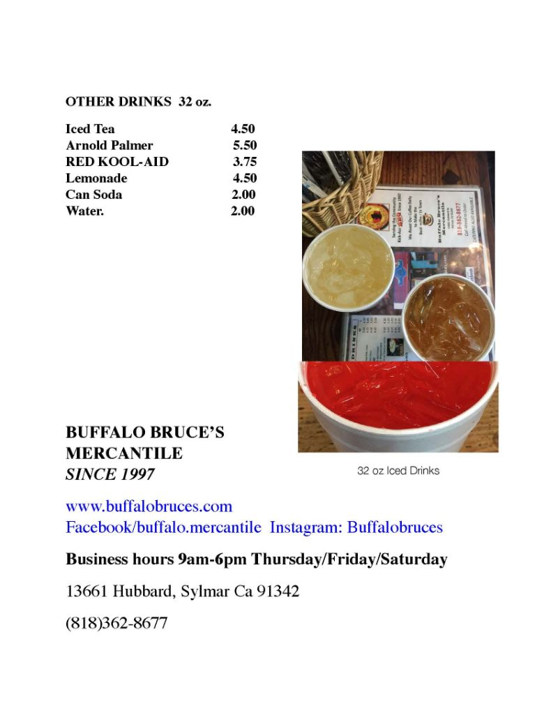Buffalo Bruces' Menu
